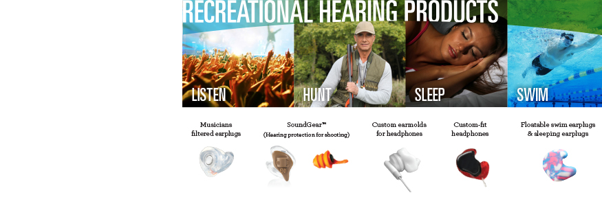 Custom Hearing Protection, Recreational Hearing Protection, Headphones, Tunz, SoundGear, Hunting, swim plugs, sleep plugs, ear buds, ear plugs